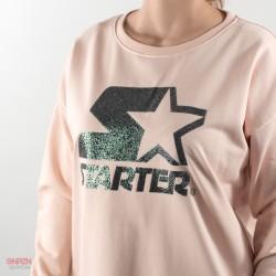 dettaglio logo con brillantini felpa rosa starter