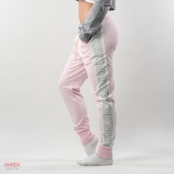 lato pantaloni rosa con bande shoeshine
